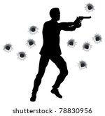 Action hero standing and shooting in film styleshoot out action sequence. With bullet holes. - stock photo