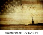 Original photographs of the Statue of Liberty and an old American flag layered with an image of the U.S. Constitution and textured with layers of worn paint. - stock photo