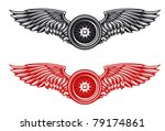 Wheel with wings for tattoo or mascot design, such a logo. Vector version also available in gallery - stock photo
