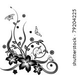 A gorgeous single colour  silhouette corner flower design with butterflies. - stock photo