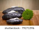 zen black stone with green flowers - stock photo