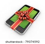 Phone in gift on white background. Isolated 3D image - stock photo