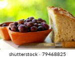 Portuguese olives and bread. - stock photo