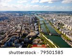 Aerial view in Paris from the Eiffel Tower. - stock photo