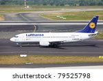 DUSSELDORF, GERMANY - MAY 21: Boeing 737 landed in Dusseldorf airport on May, 21 2011. Lufthansa services around 410 destinations with over 710 aircrafts. It has the second airline fleet in the world - stock photo