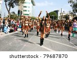 LIMASSOL,CYPRUS-MARCH 6:Unidentified people march in the annual Cyprus carnival parade on  March 6, 2011 in Limassol,Cyprus. - stock photo