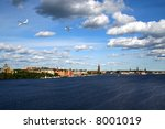 Busy skies over Stockholm - stock photo