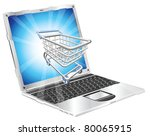 Internet shopping laptop concept illustration. Shopping cart flying out of laptop screen. - stock vector