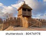 Old polish village wall in Pruszcz Gdanski - stock photo