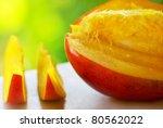 Close-up of a sliced mango - stock photo
