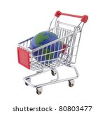 Globe and shopping cart with clipping path - stock photo