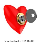 abstract 3d illustration of red heart locked with key - stock photo