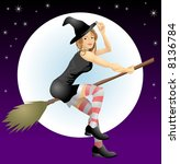 Beautiful Halloween witch. An illustration of a beautiful Halloween with riding her broomstick - stock photo
