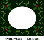 Christmas frame made of holly berry. Vector illustration - stock vector