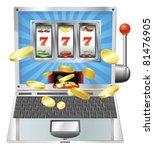 Laptop fruit machine online gambling win concept - stock vector