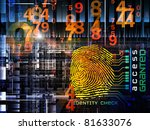 Interplay of fingerprint, digital circuitry and technological background on the subject of security, hacking, Internet accounts and privacy - stock photo