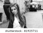 Young woman in the city - stock photo