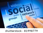 social network and connected words on touch-screen tablet-pc with finger touching screen - stock photo