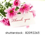 """say """"thank you"""" on a background of beautiful flowers - stock photo"""