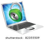 Lock icon coming out of laptop screen concept - stock vector