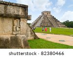 CHICHEN ITZA, MEXICO - JULY 12: Uknown people visiting Kukulkan pyramid in Chichen Itza - one of 7 New World Wonders.  July 12, 2011 in Chichen Itza, Yucatan, Mexico - stock photo