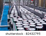 Filling of beverage cans - stock photo