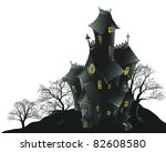 Illustration of a haunted ghost house - stock vector