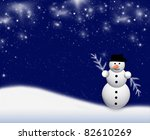 christmas design with snowman - stock photo