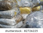 Pile of old plastic films - stock photo
