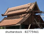 Asian roof style under construction - stock photo