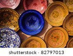 Atlas Mountains, Morocco: ornate traditional artwork on pottery and plates Atlas Mountains, Morocco - stock photo