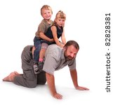 Father playing with his childs - stock photo