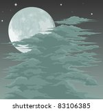 A spooky moon lit sky background with fog clouds - stock vector