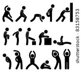 Man People Athletic Exercise Stretching Warm Up Sign Symbol Pictogram Icon - stock photo