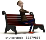 School teacher enjoys today weather on brown bench - stock photo