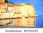 seagull at harbor of Rovinj, Croatia - stock photo