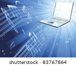 Blue laptop computer music background with musical notes streaming out of laptop - stock vector
