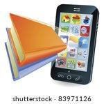Smartphone book conceptual illustration - stock photo