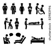 Doctor Nurse Hospital Medical Psychiatrist Patient Sick Icon Sign Symbol Pictogram - stock photo