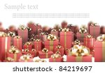 Beautiful red gift boxes with gold ribbon isolated on white background 3D render ( high resolution ) - stock photo