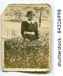 Vintage photo of girl (thirties) - stock photo