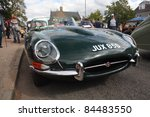 GRANTOWN ON SPEY, SCOTLAND - SEPTEMBER 4: Jaguar E Type on display in the annual Motor Mania car show on September 4, 2011 in Grantown On Spey, Scotland - stock photo