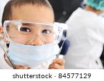 Kids at hospital, Little doctors, playing surgeon - stock photo