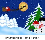 Santa Claus on sledge with Magic Deers flying over night winter, vector illustration background - stock vector