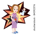 Caucasian mom - young woman holding her belly. She feel pains. Vector Illustration. - stock photo