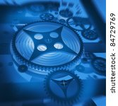 A Mechanical Background blue with Gears and Cogs 3D render ( high resolution ) - stock photo