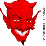 A red cartoon style devil face - stock photo
