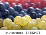 Fresh Picked White, Pink and Red Grapes - stock photo