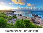 Beautiful sunset on the tropical island. - stock photo