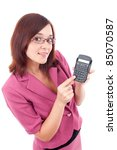 Beautiful smiling business woman with a calculator - stock photo